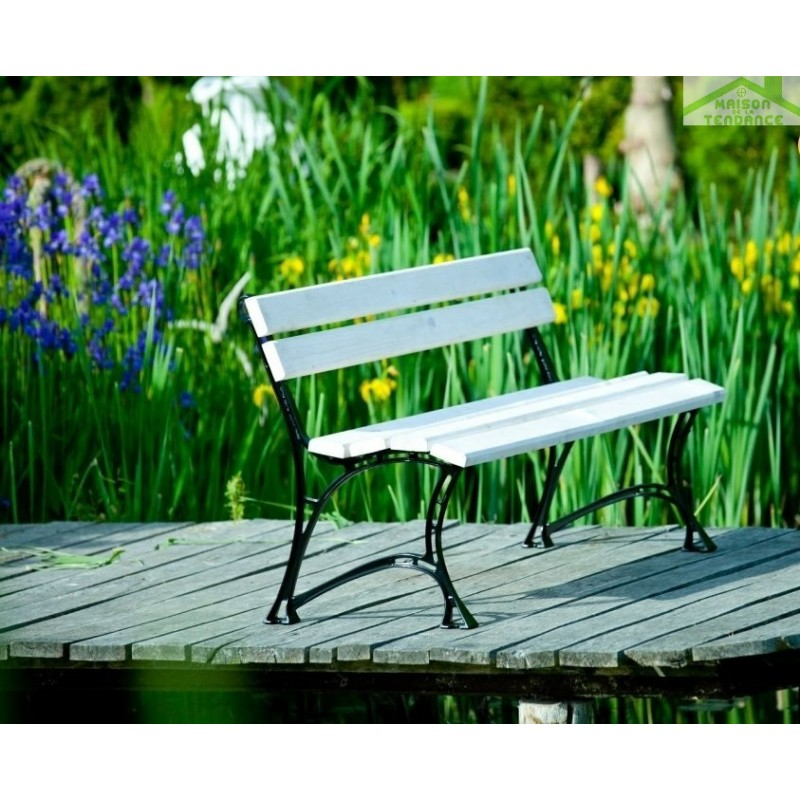 banc de jardin blanc en bois et aluminium 150cm. Black Bedroom Furniture Sets. Home Design Ideas