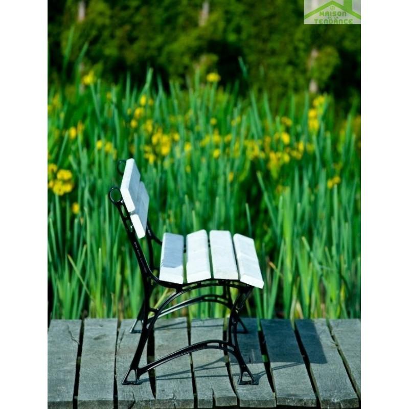 Banc de jardin blanc en bois et aluminium 150cm - Banc de jardin blanc ...