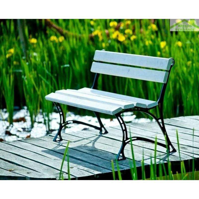 Banc de jardin blanc en bois et aluminium 150cm - Banc en bois jardin ...