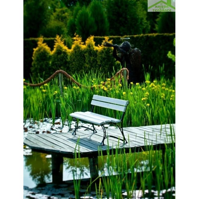 Banc de jardin blanc en bois et aluminium 150cm - Banc de jardin aluminium ...