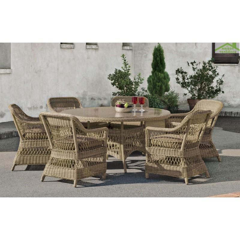 Salon de jardin avec table ronde Ø 1m + 4 fauteuils avec coussins ...