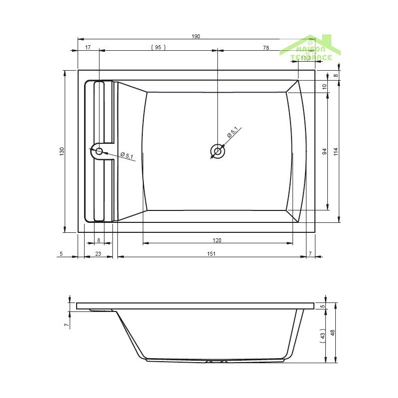 Grande baignoire duo acrylique riho savona 190x130 cm for Baignoires grandes dimensions