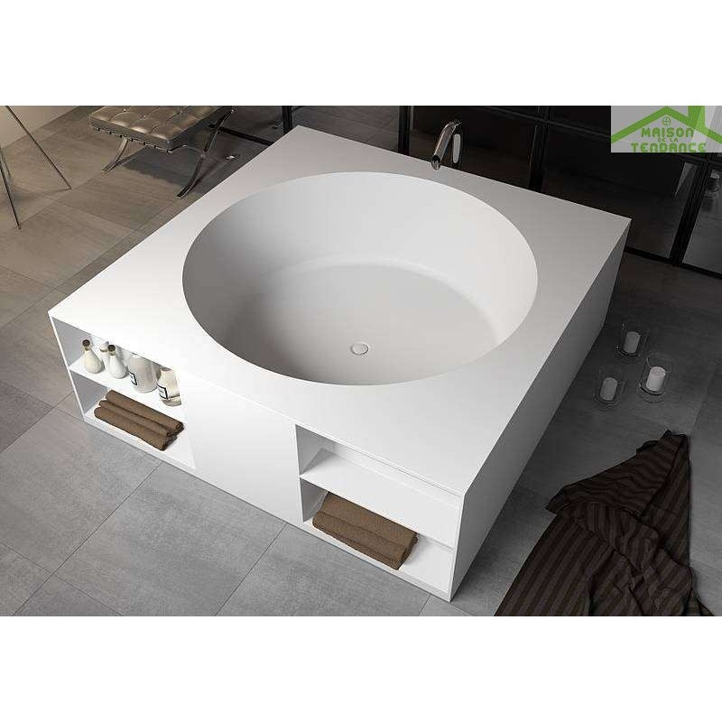 baignoire lot en solid surface riho tarragona 170x170 cm maison de la tendance. Black Bedroom Furniture Sets. Home Design Ideas