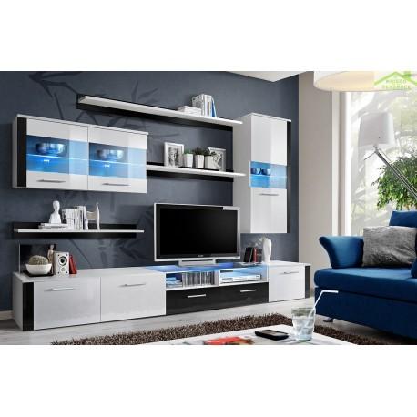 ensemble meuble tv mural logo fresh en blanc et noir de haute brillance avec led. Black Bedroom Furniture Sets. Home Design Ideas