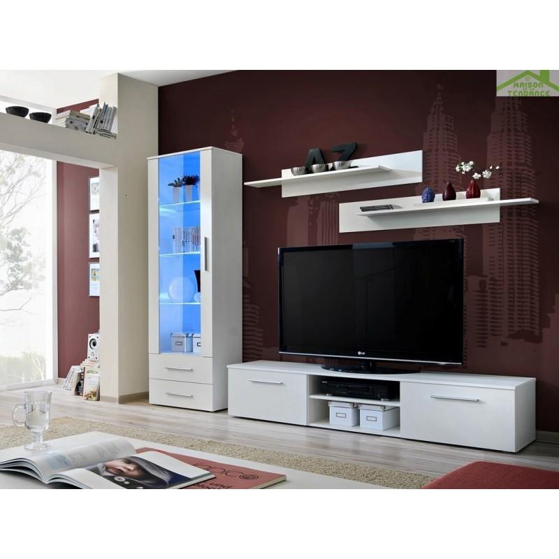 Ensemble meuble tv mural galino a en blanc mat avec led - Meuble tv mural led ...