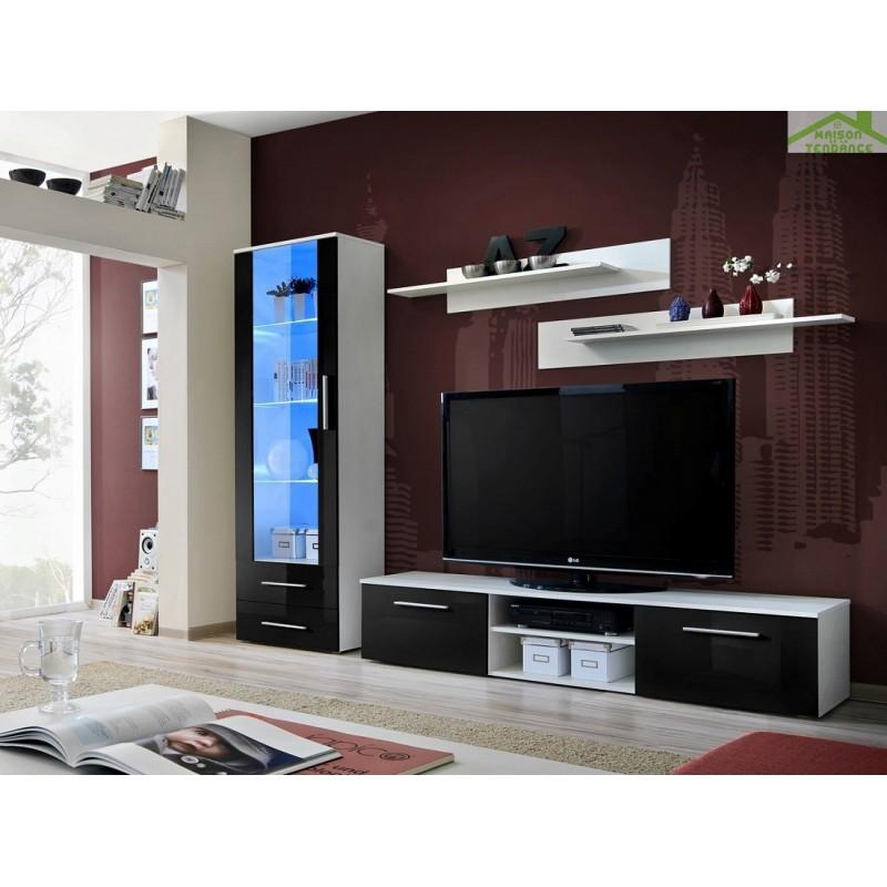 ensemble meuble tv mural galino a en blanc mat avec led. Black Bedroom Furniture Sets. Home Design Ideas
