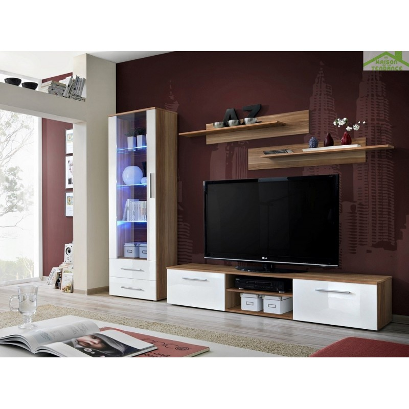 Ensemble meuble tv mural galino a en blanc mat avec led - Meuble tv ensemble mural ...
