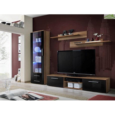 ensemble meuble tv mural galino a avec led. Black Bedroom Furniture Sets. Home Design Ideas