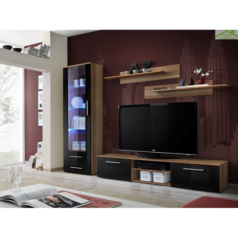 Ensemble meuble tv mural galino a avec led for Ensemble meuble tv led