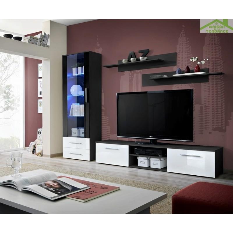 ensemble meuble tv mural galino a avec led. Black Bedroom Furniture Sets. Home Design Ideas