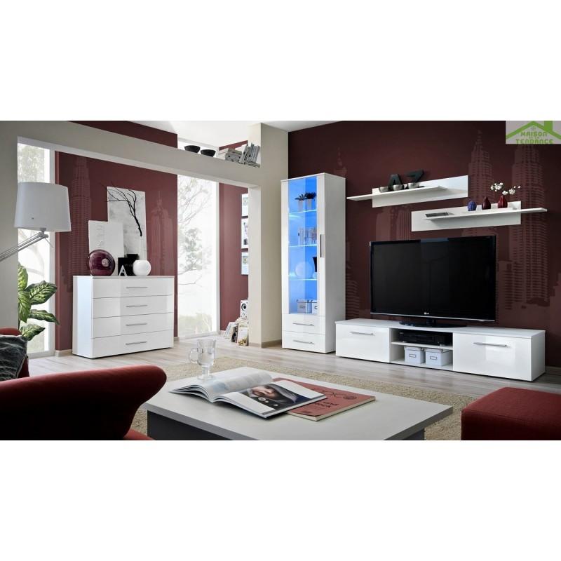 ensemble meuble tv mural galino b avec led. Black Bedroom Furniture Sets. Home Design Ideas