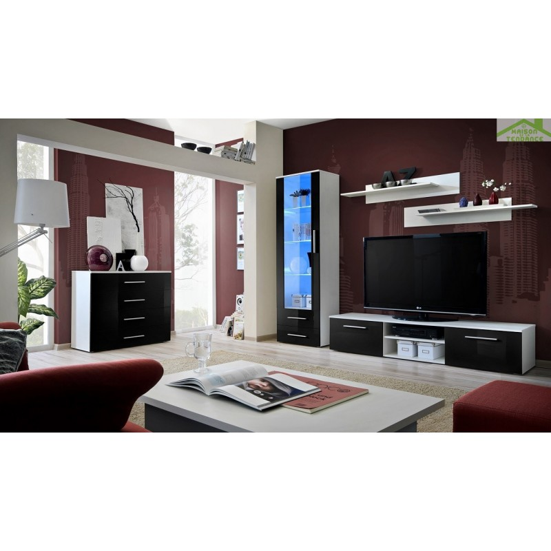 ensemble meuble tv mural galino b avec led. Black Bedroom Furniture Sets. Home Design Ideas
