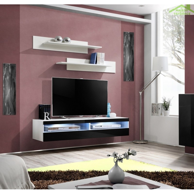 grand meuble tv fly 35 suspendre 160x30x40cm avec clairage led. Black Bedroom Furniture Sets. Home Design Ideas