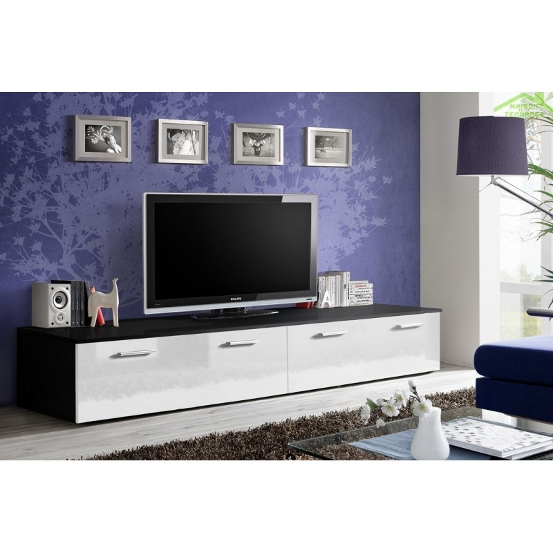 grand meuble tv duo 200x35x45 cm. Black Bedroom Furniture Sets. Home Design Ideas