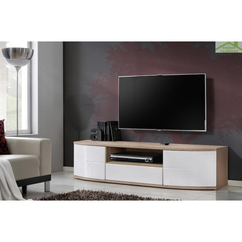 meuble tv ontario en ch ne et blanc de haute brillance 150x43x48 cm. Black Bedroom Furniture Sets. Home Design Ideas