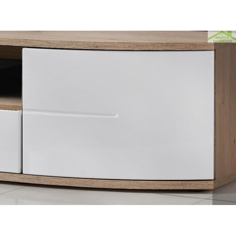 meuble tv ontario en ch ne et blanc de haute brillance. Black Bedroom Furniture Sets. Home Design Ideas