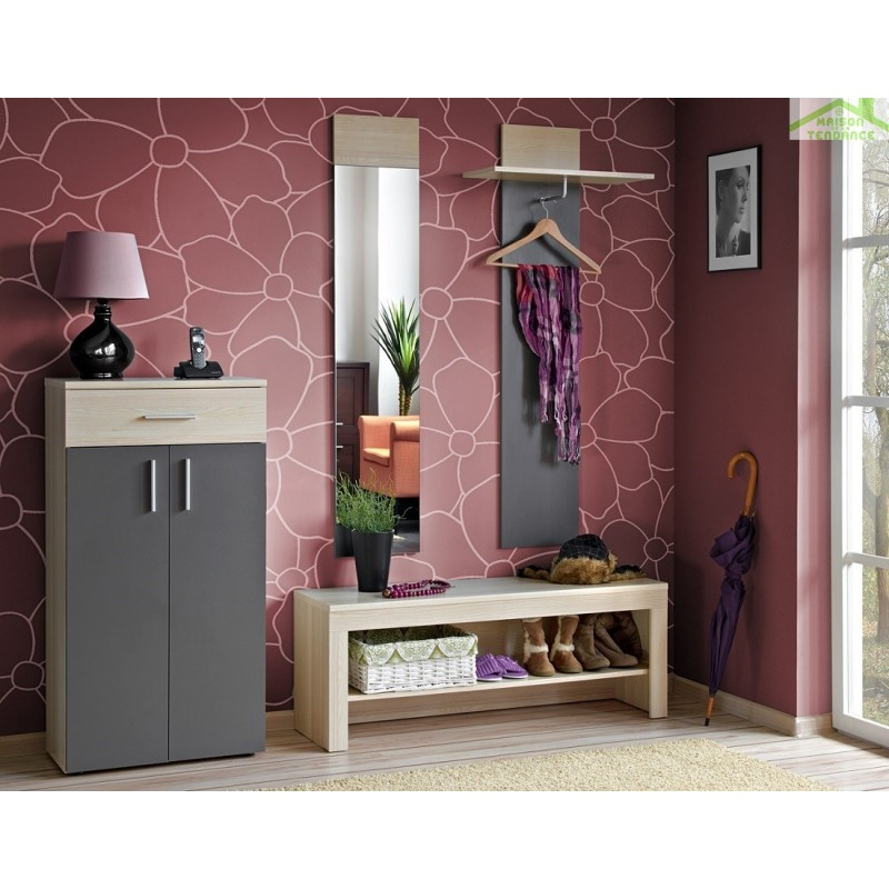 ensemble oslo armoire chaussures banc avec rangement porte manteau et miroir en fr ne et. Black Bedroom Furniture Sets. Home Design Ideas