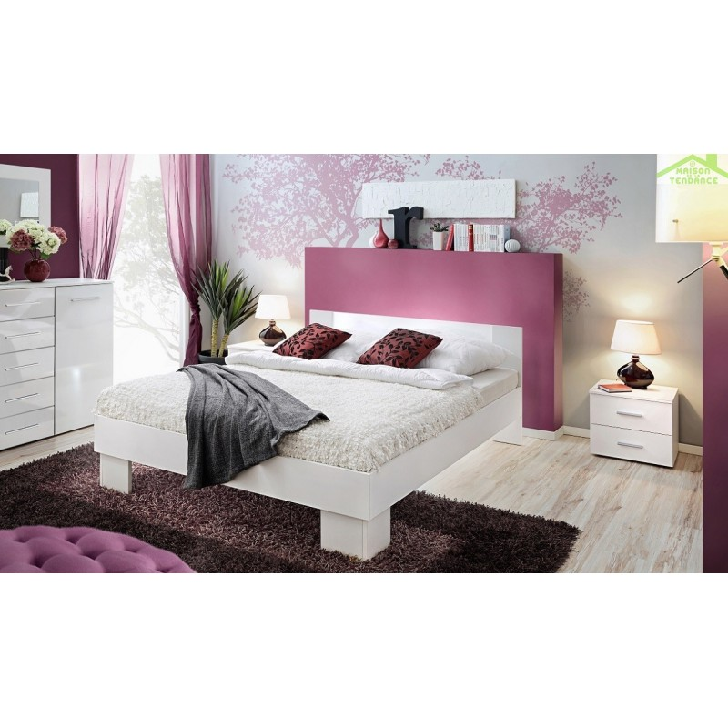 chambre coucher adulte compl te vicky ii en blanc mat. Black Bedroom Furniture Sets. Home Design Ideas