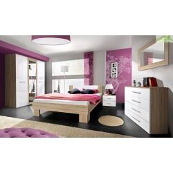 Chambre à coucher adulte complète VICKY II  en blanc et noir de haute brillance