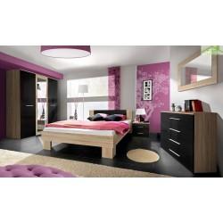 Chambre à coucher adulte complète VICKY II  en chêne et noir de haute brillance