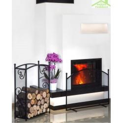 Ensemble porte bûches rectangulaire 90x60x25 cm et écran de cheminée forme arrondi 100x72x15 cm en acier noir