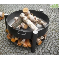 Brasero de jardin SOLAFA avec range bois en acier noir