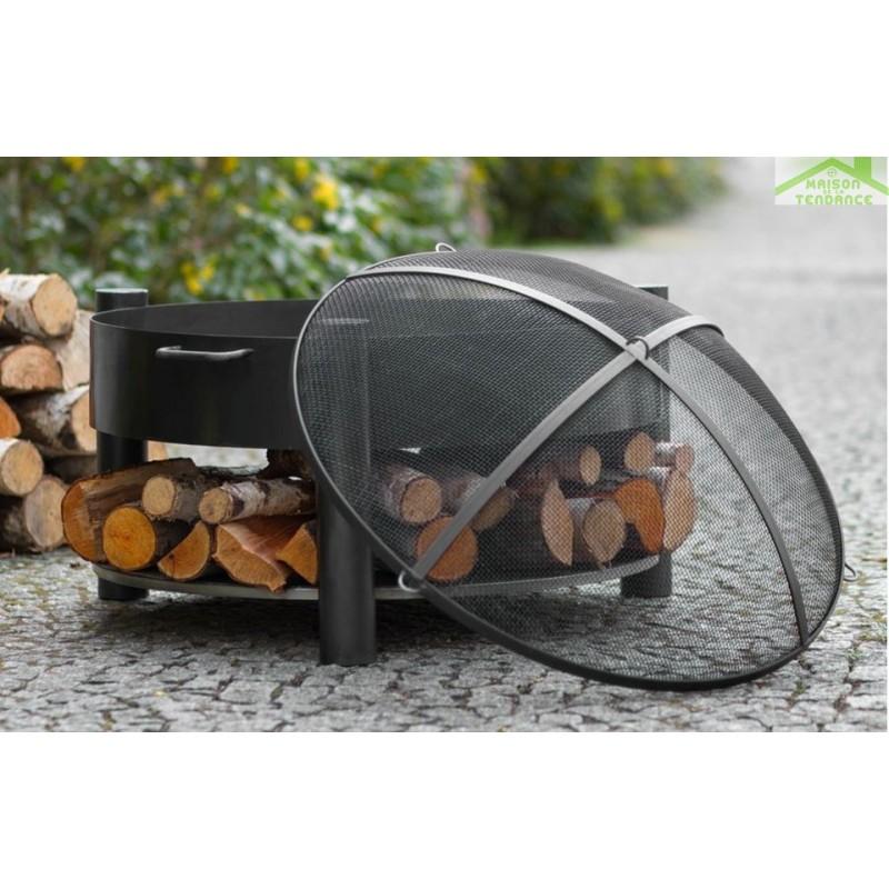brasero de jardin solafa avec range bois en acier noir. Black Bedroom Furniture Sets. Home Design Ideas