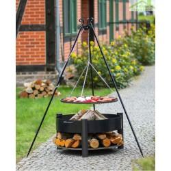 Grille barbecue sur trépied + Brasero avec range bois SOLAFA en acier noir