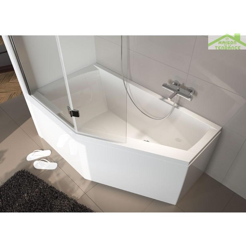 Baignoire acrylique riho geta d 39 angle 160x90 cm avec une poign e int gr e maison de la tendance - Pose d une baignoire acrylique ...