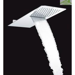 Tête de douche hydro luxe avec cascade anti-calcaire rectangulaire 55x23 cm