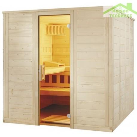 Cabine de sauna wellfun large de sentiotec 206x206 cm for Cabine sauna exterieur