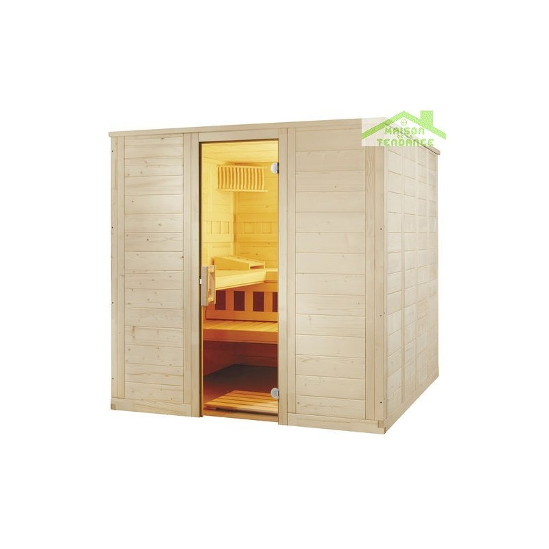 cabine de sauna wellfun large de sentiotec 206x206 cm. Black Bedroom Furniture Sets. Home Design Ideas