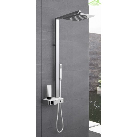 colonne de douche thermostatique avec tablette novellini flow 116 cm en chrome maison de la. Black Bedroom Furniture Sets. Home Design Ideas