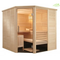 Cabine de Sauna d'angle ALASKA CORNER de SENTIOTEC 206x206 cm