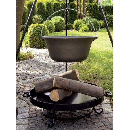 Chaudron pot en fonte avec couvercle sur trépied + brasero BALI