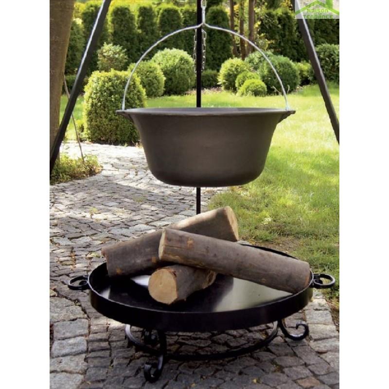 chaudron pot en fonte avec couvercle sur tr pied brasero bali maison de la tendance. Black Bedroom Furniture Sets. Home Design Ideas
