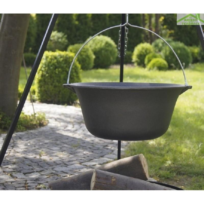 Chaudron pot en fonte avec couvercle sur tr pied brasero maltasoa maison - Pot en fonte pour jardin ...