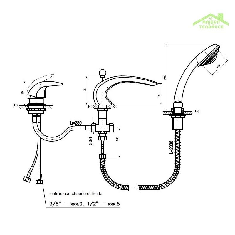 Mitigeur baignoire cascade 3 trous avec inverseur maison de la tendance - Mitigeur baignoire cascade ...