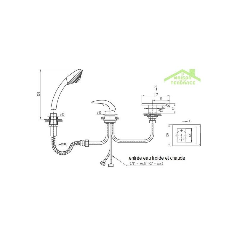 mitigeur baignoire cascade en chrome 3 trous avec. Black Bedroom Furniture Sets. Home Design Ideas