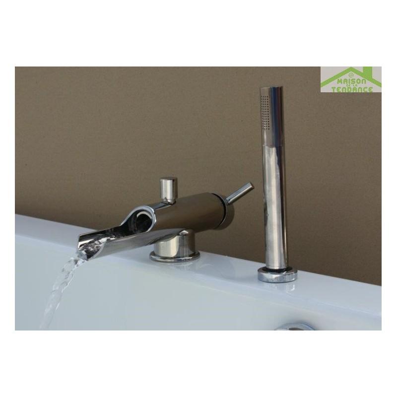 mitigeur baignoire 2 trous à cascade seina en titane - maison de ... - Robinet Baignoire Avec Douchette