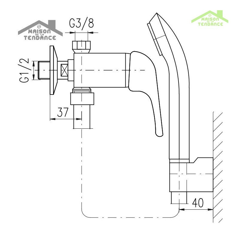 robinet mitigeur basse pression pour baignoire ou douche en chrome avec douchette maison de la. Black Bedroom Furniture Sets. Home Design Ideas