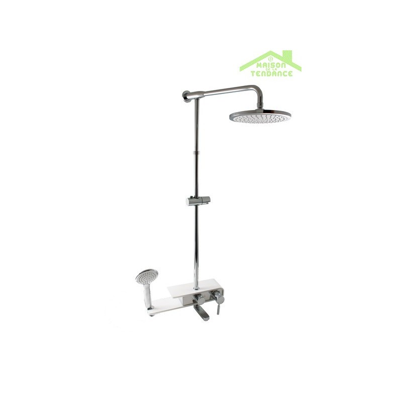 Colonne de douche murray avec tag re murale en chrome blanc for Etagere murale avec rebord