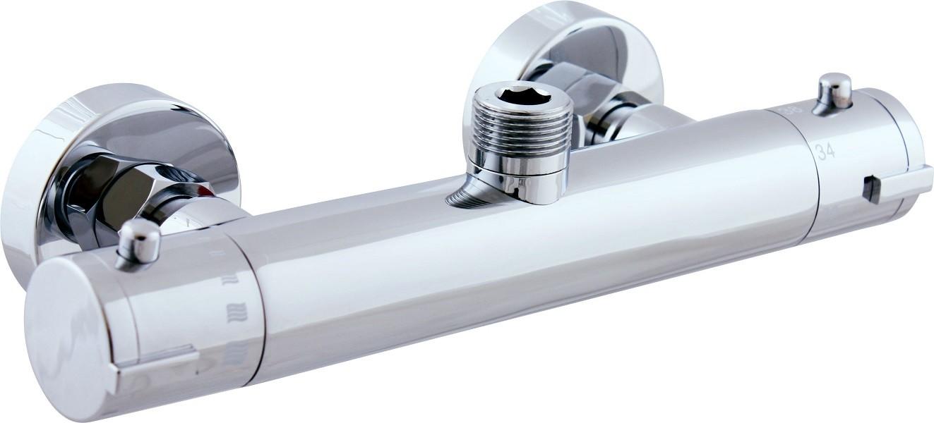 Mitigeur douche mural thermostatique en chrome   maison de la tendance
