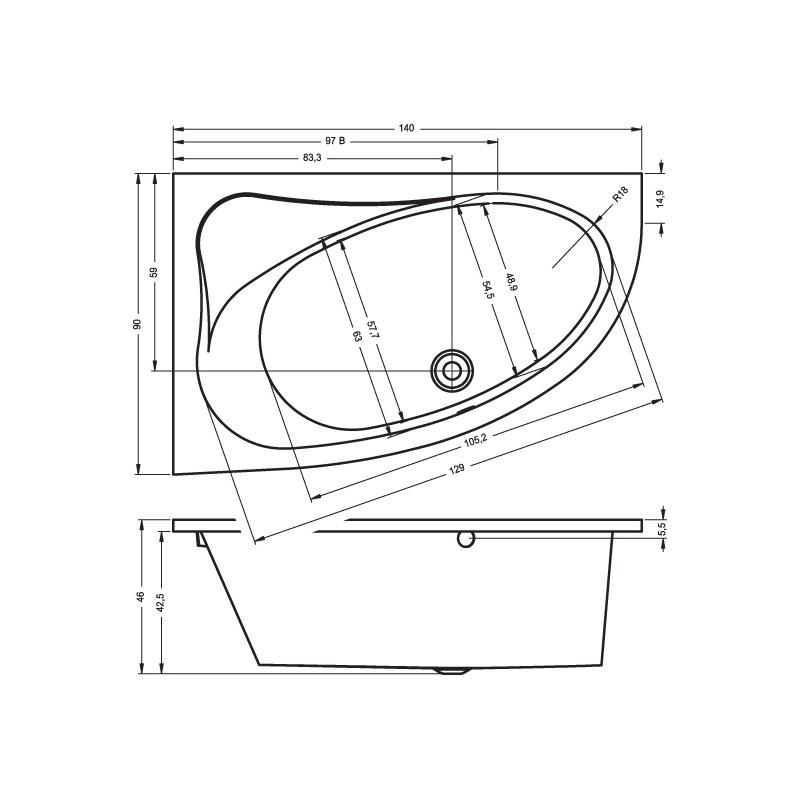 Baignoire acrylique riho d 39 angle lyra 140x90 cm maison de la tendance - Baignoire d angle dimensions ...