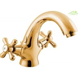 Mélangeur lavabo MORAVA avec siphon en or (doré)