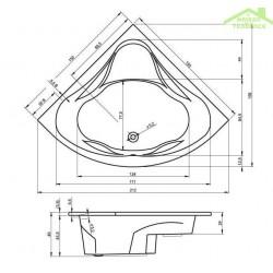Baignoire acrylique RIHO d'angle NEO 140x140 cm