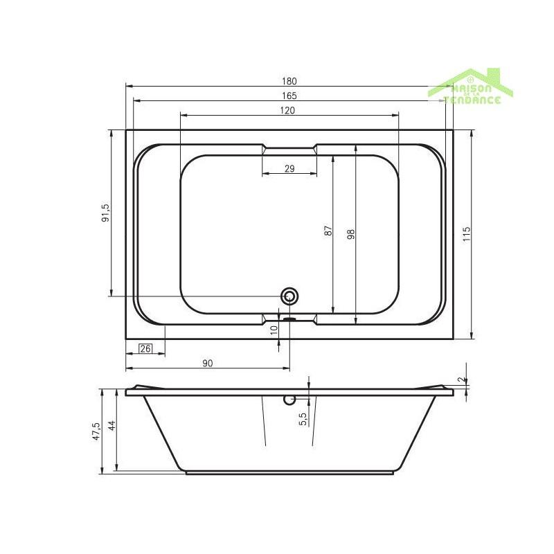 Grande baignoire acrylique riho sobek 180x115 cm maison for Baignoires grandes dimensions