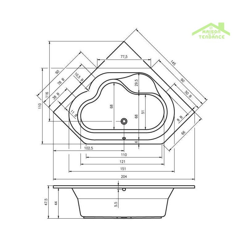 baignoire d 39 angle acrylique riho winnipeg 145x145 cm. Black Bedroom Furniture Sets. Home Design Ideas