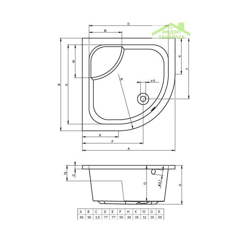 Receveur de douche acrylique quadrant avec assise riho 342 - Douche italienne avec assise ...