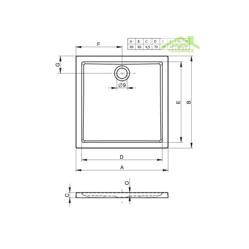 receveur de douche carr riho davos 249 80x80x4 5 cm avec pieds et tablier maison de la tendance. Black Bedroom Furniture Sets. Home Design Ideas